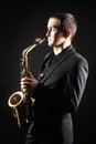 Saxophone Player with Sax alto Royalty Free Stock Photo