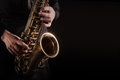 Saxophone Player Saxophonist playing jazz music Royalty Free Stock Photo