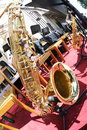 Saxophone taken with fisheye resting on a stage lens Royalty Free Stock Photography