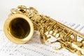 Saxophone on the white background Royalty Free Stock Image