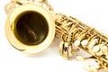 Saxophone on the white background Royalty Free Stock Photos