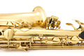 Saxophone on the white background Royalty Free Stock Photos
