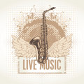 Saxophone with wings and the words live music Royalty Free Stock Photography