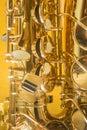 Saxophone on the yellow background Stock Photo