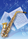 Saxophones picture of an instruments and music note Stock Image