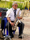 Saxophonist budyonnovsk stavropol region russia may municipal brass band on the labor day celebration on st of may in budyonnovsk Royalty Free Stock Photography