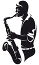 Saxophonist, silhouette Royalty Free Stock Photo