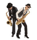 Saxophonist woman and men playing on saxophone isolated on background Royalty Free Stock Photography