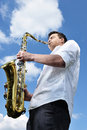 Saxy player men Royalty Free Stock Images