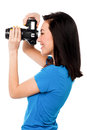 Say cheese smile please professional female fashion photographer taking a snapshot Stock Image