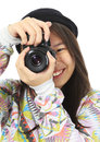 Say cheese a smiling teenager holding a camera logos removed Stock Photography