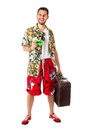 Say cheese a young attractive male in a colorful outfit ready to travel as a stereotype tourist Stock Images