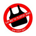 SAY NO TO PLASTIC BAGS. SEW YOUR OWN icon isolated on white