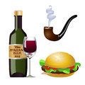 Say no to your addictions vector illustration of a bottle of vine with a glass of red wine a cigar a hamburger Stock Image