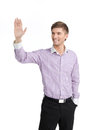 Saying hello to someone handsome young men greeting someone man with his hand raised up while standing isolated on white Royalty Free Stock Image