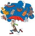 Saying raining cats and dogs cartoon illustration Royalty Free Stock Photo