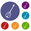 Saz turkish music instrument icons set Royalty Free Stock Photo