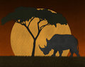 Scène de papersunset au safari de l afrique fait à partir du papier réutilisé Images stock