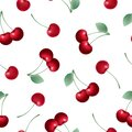Red fruits, cherries, cherry vector hand drawn seamless background illustration, background template design
