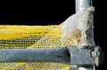 Scaffold detail of two steel pipes isolated on yellow sow background Stock Image