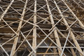 Scaffold huge wood closeup on an old building exterios Royalty Free Stock Photography