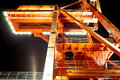 Scaffold a with light at night Royalty Free Stock Photos