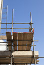 Scaffolding looking up at and scaffold boards Stock Photos