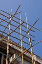 Scaffolding made of bamboo at a house hong kong Stock Photos