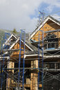 Scaffolding on new home construction Stock Image