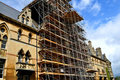 Scaffolding for restoration of an old building Royalty Free Stock Images