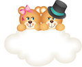 Scalable vectorial image representing couple teddy bears cloud isolated white Stock Image