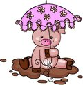Little pig in the mud with umbrella Royalty Free Stock Photo