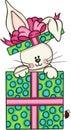 Cute bunny in gift box