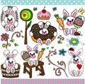 Cute bunny set digital elements