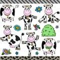 Cute cow set digital elements Royalty Free Stock Photo