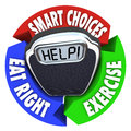 Scale help diagram smart choices eat right exercise a with the word on it surrounded by a circular showing a plan for healthier Royalty Free Stock Images