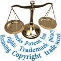 Scale ip rights legal justice concept with intellectual property concepts of patent copyright trademarks Royalty Free Stock Photo