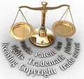 Scale ip rights legal justice words with intellectual property concepts of patent copyright trademarks Royalty Free Stock Photo