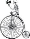 Human skeleton riding antique penny farthing bicycle Royalty Free Stock Photo