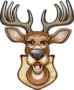 Whitetail deer buck head mounted on wooden shield Royalty Free Stock Photo