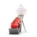 Scales apples vs cake. 3d conceptual image on white background Royalty Free Stock Photo