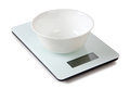 Scales and a bowl electronic on white background Royalty Free Stock Images