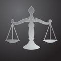 Scales of justice black silhouette with gavel Royalty Free Stock Photos
