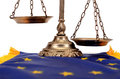 Scales justice european union flag european union law concept Stock Images