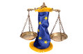 Scales justice european union flag white background eu law concept Stock Image