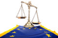Scales justice flag european union european union laws Stock Images