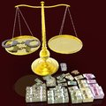 Scales of justice and handcuffs Royalty Free Stock Photo