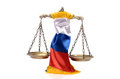 Scales of justice and russian federation flag on the white background concept law in Stock Photo