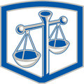 Scales of justice shield retro illustration weighing set inside done in style on background Stock Photo