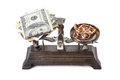 Scales, money and gold Royalty Free Stock Photo